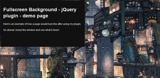 полноэкранный фон на JQuery