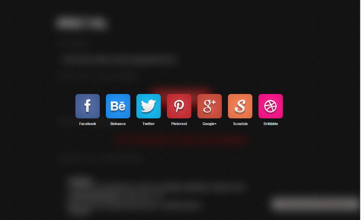 Социальные кнопки с блур эффектом