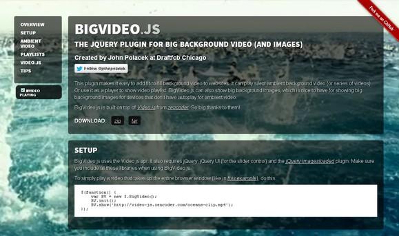 BigVideo.js - это jQuery-плагин для добавления в качестве фона видео
